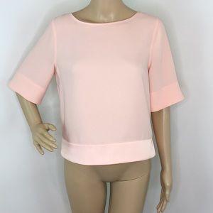 Peach crew neck short sleeve blouse